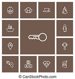 Set Of 13 Editable Folks Outline Icons. Includes Symbols Such As Christmas, Blocks, Clues And More. Can Be Used For Web, Mobile, UI And Infographic Design.