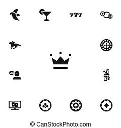Set Of 13 Editable Game Icons. Includes Symbols Such As Gamble, Lucky Seven, Ace Of Diamonds And More. Can Be Used For Web, Mobile, UI And Infographic Design.