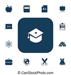 Set Of 13 Editable Knowledge Icons. Includes Symbols Such As Trunk, Cutting, Painter's Stand. Can Be Used For Web, Mobile, UI And Infographic Design.