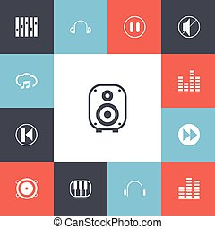 Set Of 13 Editable Melody Icons. Includes Symbols Such As Equalizer, Bass Speakers, Piano And More. Can Be Used For Web, Mobile, UI And Infographic Design.
