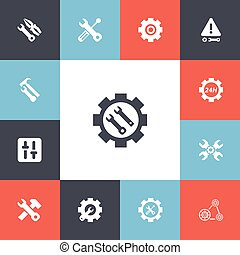 Set Of 13 Editable Repair Icons. Includes Symbols Such As Settings, Caution, Build Equipment And More. Can Be Used For Web, Mobile, UI And Infographic Design.