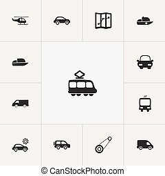 Set Of 13 Editable Transport Icons. Includes Symbols Such As Delivery, Transportation, Navigation And More. Can Be Used For Web, Mobile, UI And Infographic Design.