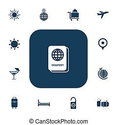 Set Of 13 Editable Travel Icons. Includes Symbols Such As Mattress, Cocktail, Point And More. Can Be Used For Web, Mobile, UI And Infographic Design.