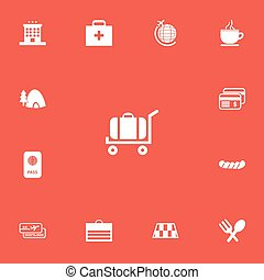 Set Of 13 Editable Trip Icons. Includes Symbols Such As Barrier, Bratwurst, Doctor Case And More. Can Be Used For Web, Mobile, UI And Infographic Design.