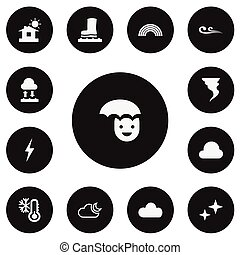 Set Of 13 Editable Weather Icons. Includes Symbols Such As Evaporation Condensation, Waterproof Shoes, Overcast And More. Can Be Used For Web, Mobile, UI And Infographic Design.