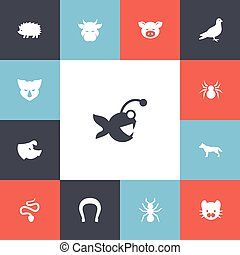 Set Of 13 Editable Zoology Icons. Includes Symbols Such As Kine, Sow, Rhinoceros And More. Can Be Used For Web, Mobile, UI And Infographic Design.