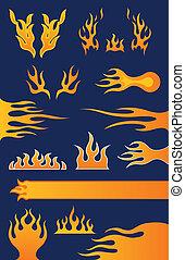Set of 13 Flame Design Elements
