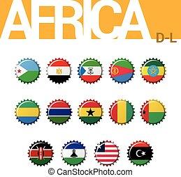Set of 14 bottle cap flags of Africa (D-L). Set 2 of 4. Vector Illustration.