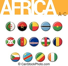 Set of 14 bottle cap flags of Africa (A-C). Set 1 of 4....