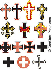 A selection of crosses design elements, some ornate, some simple. Whether you need a cross to embroider on the pope's hat or tattoo on the side of a biker's neck, we've got you covered!