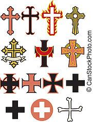 Set of 14 Cross Vectors - A selection of crosses design...