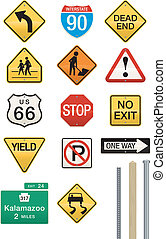 A wide assortment of street and highway sign vector illustrations. Includes three different post/pole designs which work with all of the signs. Easily editable colors and shapes. Use as is or drop in your own text. Great for icons or visual metaphors!