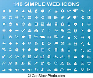 Set of 140 simple white navigation web icons isolated on blue background