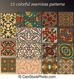 Set of 15 colorful abstract seamless patterns