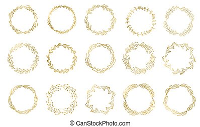 Set of 15 Handdrawn ink painted gold floral wreaths and...
