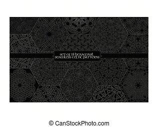 Set of 15 hexagonal celtic seamless line patterns