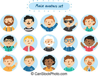 Set of 15 male characters avatars
