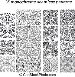 Set of 15 monochrome abstract seamless patterns