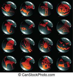 Set of 16 black halloween buttons