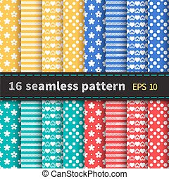 Set of 16 colorful seamless