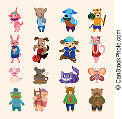 set of 16 cute animal icons