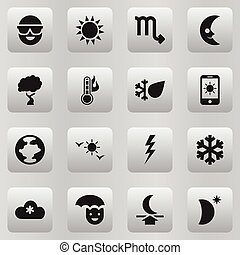 Set Of 16 Editable Air Icons. Includes Symbols Such As Moon Up, Smile Lunar, Daystar And More. Can Be Used For Web, Mobile, UI And Infographic Design.