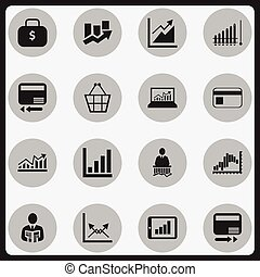 Set Of 16 Editable Analytics Icons. Includes Symbols Such As Report, Credit Card, Businessman And More. Can Be Used For Web, Mobile, UI And Infographic Design.