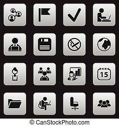 Set Of 16 Editable Bureau Icons. Includes Symbols Such As Date Block, Diskette, Businesswoman And More. Can Be Used For Web, Mobile, UI And Infographic Design.