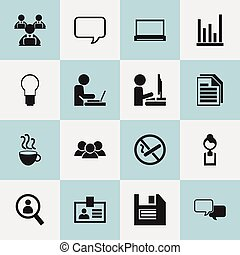 Set Of 16 Editable Bureau Icons. Includes Symbols Such As Light, Smoking Forbidden, Worker With Laptop And More. Can Be Used For Web, Mobile, UI And Infographic Design.