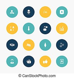 Set Of 16 Editable Business Icons. Includes Symbols Such As Ergonomic Seat, Like, Cravat And More. Can Be Used For Web, Mobile, UI And Infographic Design.