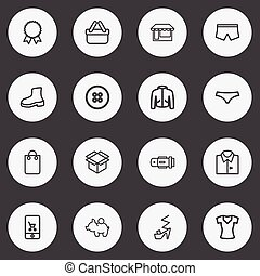 Set Of 16 Editable Business Outline Icons. Includes Symbols Such As Rubber Shoe, Woman T-Shirt, Blouse And More. Can Be Used For Web, Mobile, UI And Infographic Design.