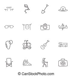 Set Of 16 Editable Camping Doodles. Includes Symbols Such As Flying Toy, Seat, Beach Hat And More. Can Be Used For Web, Mobile, UI And Infographic Design.