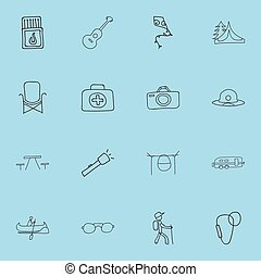 Set Of 16 Editable Camping Doodles. Includes Symbols Such As Beach Hat, Photographing, Campfire Cooking And More. Can Be Used For Web, Mobile, UI And Infographic Design.