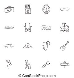 Set Of 16 Editable Camping Doodles. Includes Symbols Such As Picnic, Beach Hat, Musical Instrument And More. Can Be Used For Web, Mobile, UI And Infographic Design.