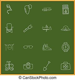 Set Of 16 Editable Camping Doodles. Includes Symbols Such As Beauty Insect, Flammable Stick, Medical Kit And More. Can Be Used For Web, Mobile, UI And Infographic Design.