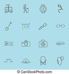 Set Of 16 Editable Camping Icons. Includes Symbols Such As Beauty Insect, Beach Hat, Carabine And More. Can Be Used For Web, Mobile, UI And Infographic Design.