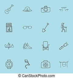Set Of 16 Editable Camping Icons. Includes Symbols Such As Camp House, Beach Hat, Flammable Stick And More. Can Be Used For Web, Mobile, UI And Infographic Design.
