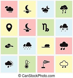 Set Of 16 Editable Climate Icons. Includes Symbols Such As Hail, Hat, Rainy Autumn And More. Can Be Used For Web, Mobile, UI And Infographic Design.