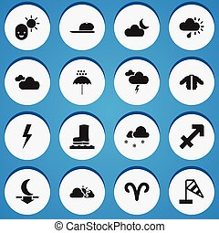 Set Of 16 Editable Climate Icons. Includes Symbols Such As Male, Fog, Lunar And More. Can Be Used For Web, Mobile, UI And Infographic Design.