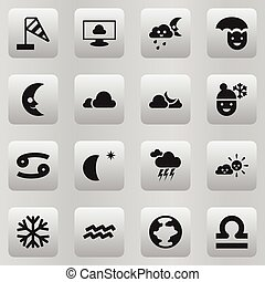 Set Of 16 Editable Climate Icons. Includes Symbols Such As Skyless, Sunny Weather, Stormy And More. Can Be Used For Web, Mobile, UI And Infographic Design.