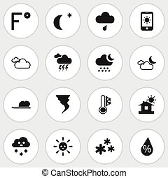 Set Of 16 Editable Climate Icons. Includes Symbols Such As Snowing, House, Stormy And More. Can Be Used For Web, Mobile, UI And Infographic Design.