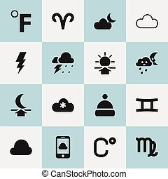 Set Of 16 Editable Climate Icons. Includes Symbols Such As Virgin, Celsius, Storm And More. Can Be Used For Web, Mobile, UI And Infographic Design.