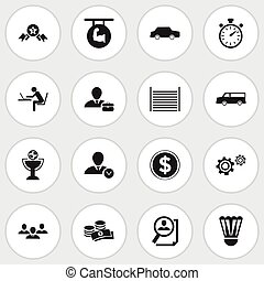 Set Of 16 Editable Complicated Icons. Includes Symbols Such As Auto, Blank, Coins And More. Can Be Used For Web, Mobile, UI And Infographic Design.