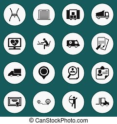 Set Of 16 Editable Complicated Icons. Includes Symbols Such As Camion, Achievement, Search And More