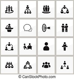 Set Of 16 Editable Cooperation Icons. Includes Symbols Such As Leader, Member, Talking Man And More. Can Be Used For Web, Mobile, UI And Infographic Design.