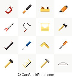 Set Of 16 Editable Equipment Icons. Includes Symbols Such As Malleus, Turn-Screw, Instruments And More. Can Be Used For Web, Mobile, UI And Infographic Design.