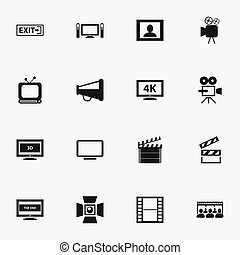 Set Of 16 Editable Filming Icons. Includes Symbols Such As Tripod, Broadcast, Clapper And More. Can Be Used For Web, Mobile, UI And Infographic Design.