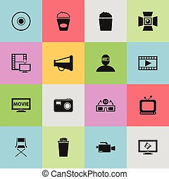 Set Of 16 Editable Filming Icons. Includes Symbols Such As Spectator, Video Camera, Loudspeaker And More. Can Be Used For Web, Mobile, UI And Infographic Design.