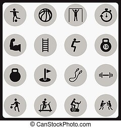 Set Of 16 Editable Fitness Icons. Includes Symbols Such As Stopwatch, Crossbar, Training Bicycle And More. Can Be Used For Web, Mobile, UI And Infographic Design.
