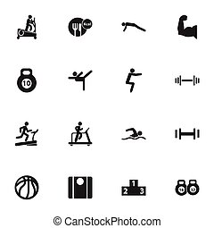 Set Of 16 Editable Fitness Icons. Includes Symbols Such As Strength, Jogging, Heft And More. Can Be Used For Web, Mobile, UI And Infographic Design.